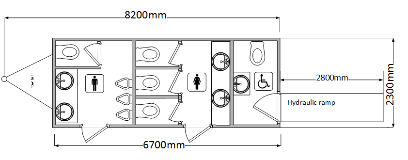 Luxury toilet hire with disabled unit